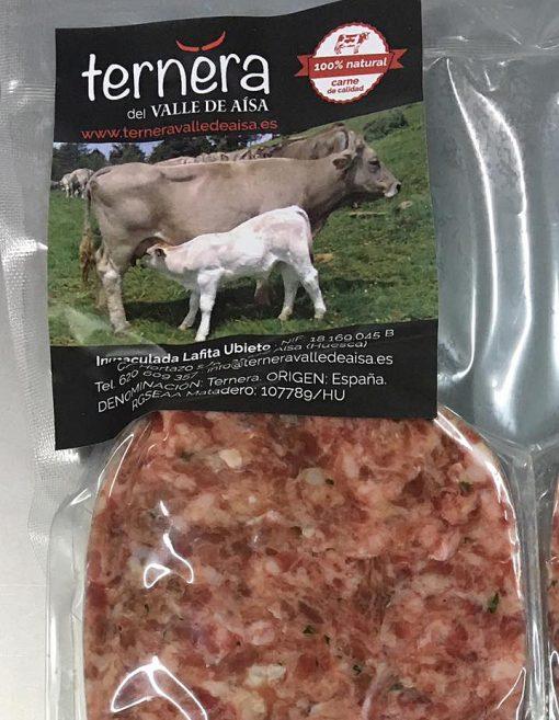 Hamburguesa de ternera del Valle de Aísa carne del Pirineo con alimentación natural al 100%